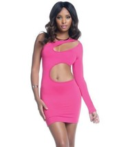 BODYCON ONE SLEEVE MINI DRESS WITH KEY HOLE CUT OUTS S-XL BY FORPLAY - $19.99