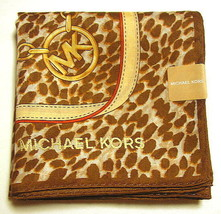 MICHAEL KORS Handkerchief hanky scarf bandana Brown Leopard Cotton Auth New - $21.78