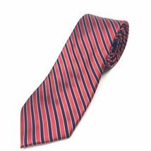 TOMMY HILFIGER Mens Tie Navy Blue Red Diagonal Stripe 100% Silk Neck Tie... - $2.93