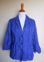 CHICOS 2 ~ LARGE PURPLE IRRIDESCENT RUCHED 3/4 SLEEVE POCKETED BUTTON JA... - $13.37