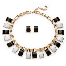 PalmBeach Jewelry Black & White Lucite Gold Tone Necklace and Earrings Set - $19.79