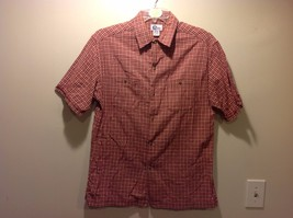 Red Plaid Farm Country Style Short Sleeved Button Up Shirt Sz M