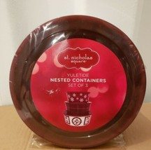 St. Nicholas Square Yuletide Nested Containers Set Of 3 BOWLS WITH LIDS - $29.70
