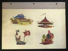 DISNEYLAND Concept Art Lithograph 60th VIP Gift 9x12 1954 Fantasyland Vehicles - $23.02