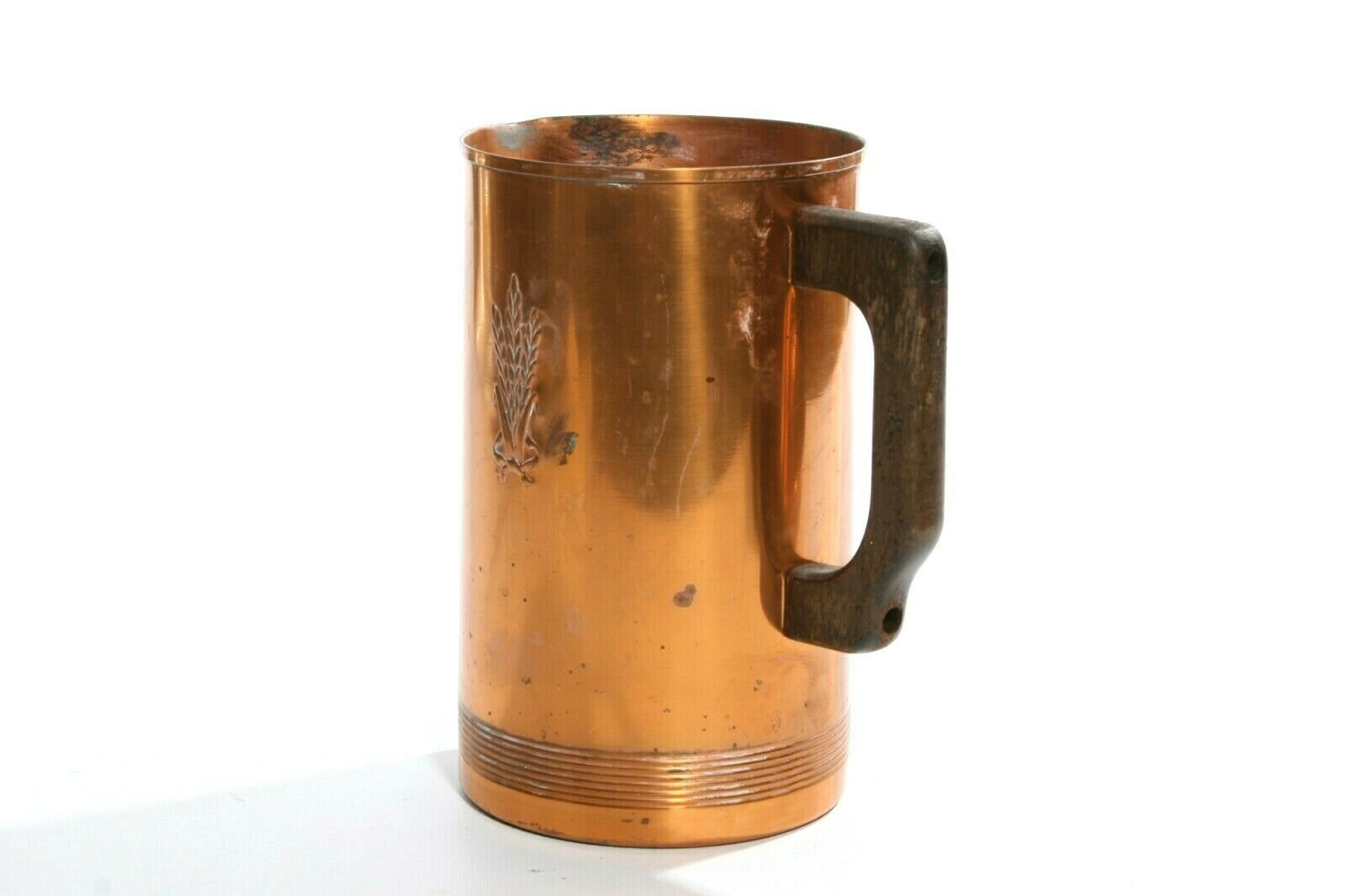 Vintage West Bend Aluminum Co 6Pc Solid Copper 4 Mugs, Pitcher & Tray / Platter