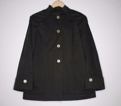 St John Womens Coat Dark Green Gold Buttons Button Up Cotton Size P - $59.39