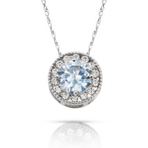 1.90Ct Created Diamond & Aquamarine Round Halo Charm Pendant 14K W Gold ... - $69.28+