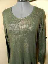 A.N.A Metallic Tunic T-shirt S Olive Green Gold scoop neck Stretch Long ... - $14.84