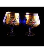 Pair LARGE blue goblets - vintage bohemian handpainted  glass - Liqueur ... - $85.00