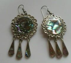 Vintage Alpaca Mexico Abalone Shell Dangle Hook Earrings - $35.00