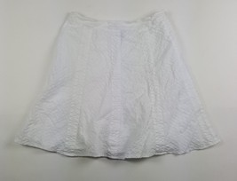 Gap Womens Size 4 White Textured Side Zipped Knee-Length Lined Cotton Skirt EUC - $13.09