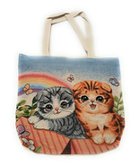 CAT AND RAINBOW CANVAS TOTE BAG, WOMEN HANDBAG, SHOULDER BAG, EVERY DAY ... - $45.99