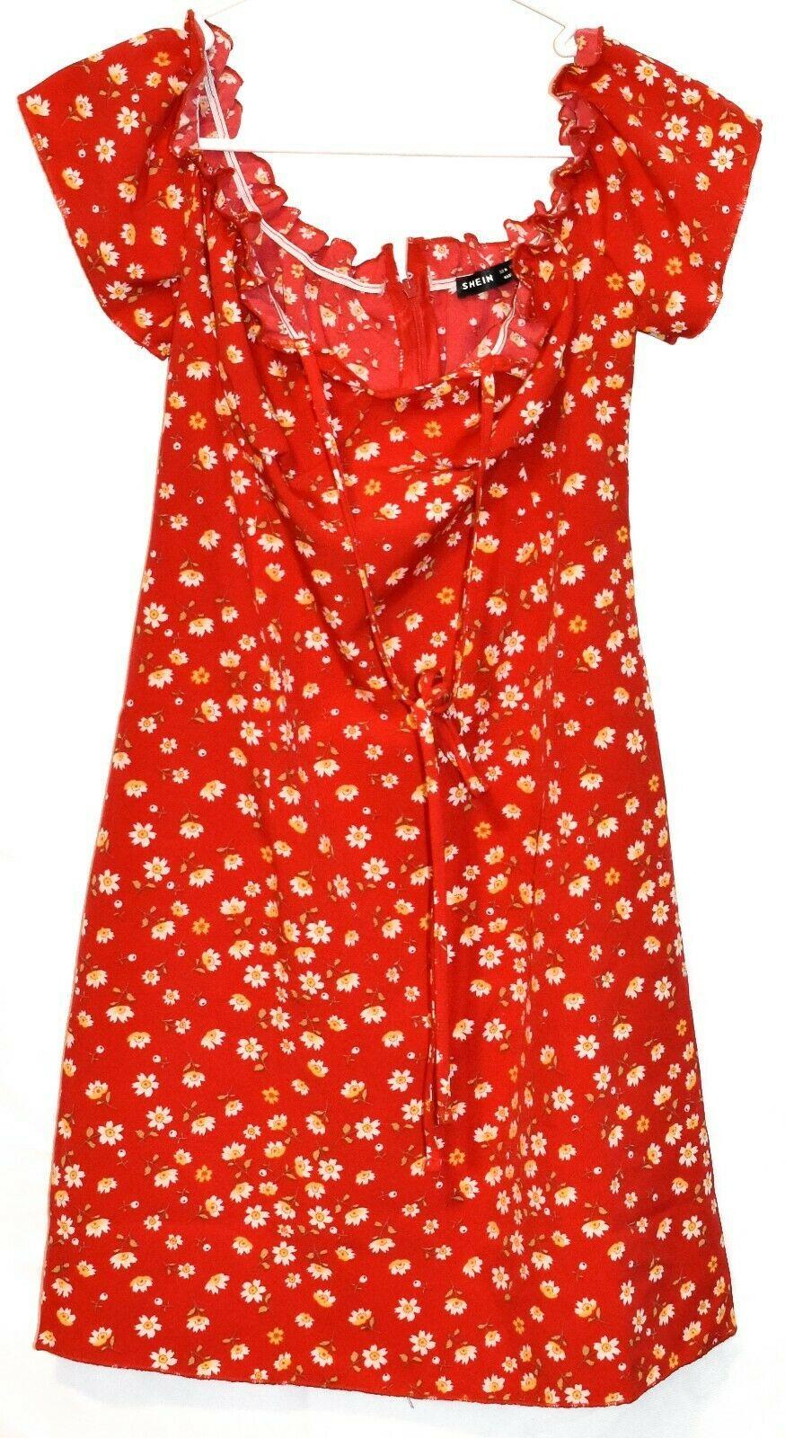 Shein Women's Red Floral Ruffle Zipper Back Sundress Sun Dress Size M