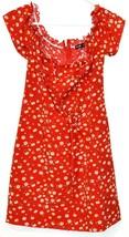 Shein Women's Red Floral Ruffle Zipper Back Sundress Sun Dress Size M image 1