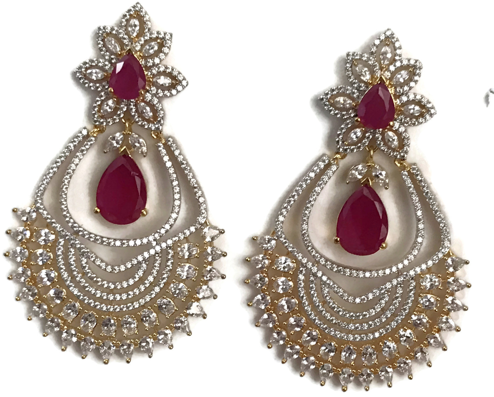 Ea e196 Bollywood Fashion white Polki & simulated Ruby stones golden earring Set