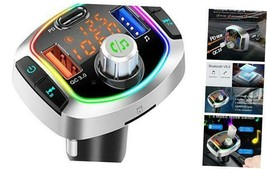 Bluetooth FM Transmitter for Car, QC3.0+USB-C Fast Charger Wireless Blue... - $37.36