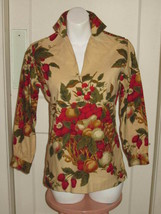 "LADY HATHAWAY Blouse BERRY FRUIT BOTANICAL PRINT Canvas Top Shirt ""THE S... - $14.24"