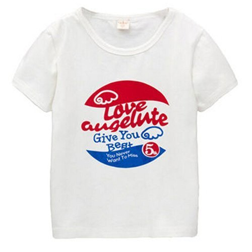 WHITE Infant Pure Cotton Tee Baby Toddler T-Shirt 110 CM (4-5Y)
