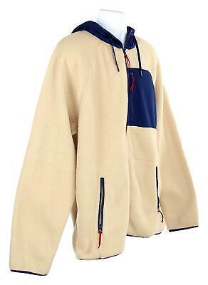 J Crew Mens Sherpa Zip Front Hooded Jacket Fleece Coat XL Navy Cream K4296 image 3