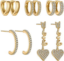 5 Pairs Gold Silver Huggies Hoop Earrings Set for Women Girls Small Tiny... - $24.78