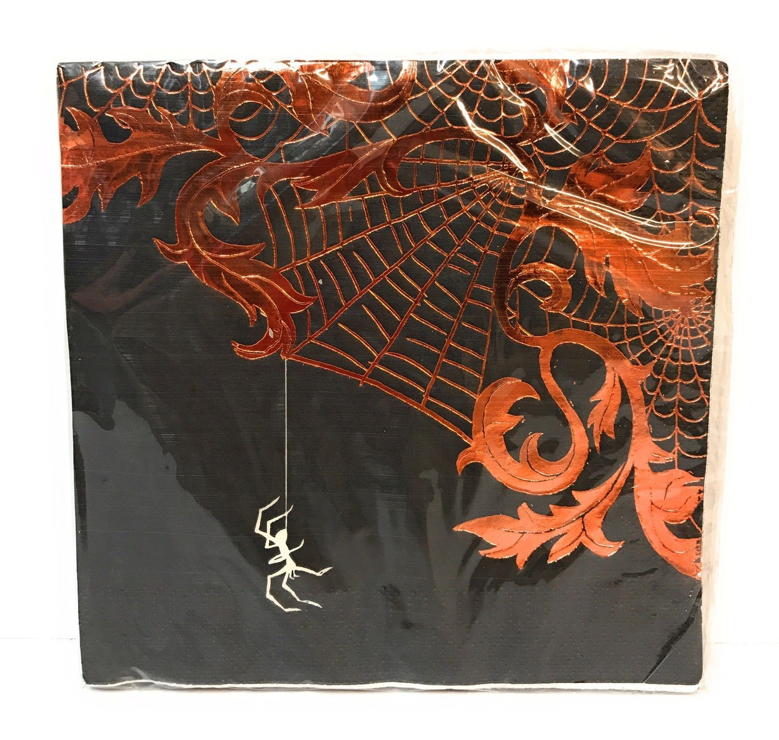 Skull Spider Spiderweb Party Pack Dinner Plates Lunch Napkins Cups Copper Foil
