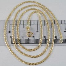 18K YELLOW GOLD CHAIN 2.2 MM FLAT NAVY MARINER LINK 19.70 INCHES MADE IN ITALY  image 1