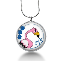 Silly pink Flamingo necklace pendant for her. summer beach jewelry gifts - $18.32