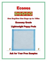 600-Economy Grade Econos Piddle-Wee Wee-Puppy Dog Pads/Underpads FREE SAMPLES - $53.99