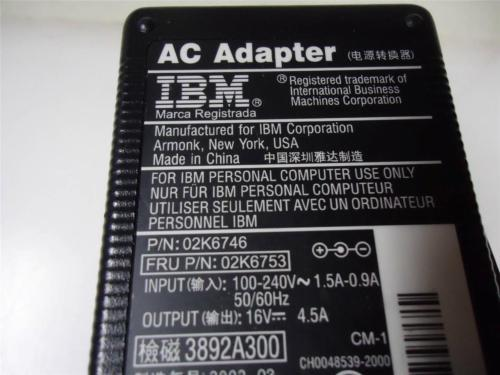 Genuine OEM IBM Laptop Charger AC Adapter 16v 4.5a 72W 02K6756 02K6753 02K6757