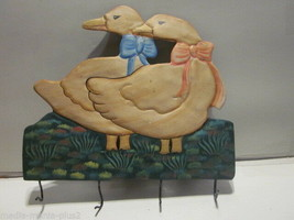 VINTAGE HAND PAINTED METAL PAIR OF DUCK SHAPED COAT TOWEL HOLDER 4  HOOKS - $9.99