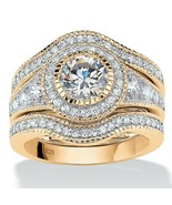 2.73 TCW CZ Bridal Set in 14k Gold over .925 Sterling Silver - $114.82