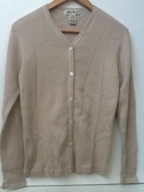 Eddie Bauer Women's Beige Ribbed Button Up Long Sleeve Cardigan Sweater S Small - $14.95