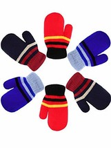 Boao 3 Pairs Kids Full Finger Gloves Stretch Mittens Winter Soft Thicken Warm Gl