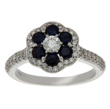 14K White Gold 0.60 Ct Diamond & Blue Sapphire Engagement Ring Size 7 »N124 - £594.71 GBP