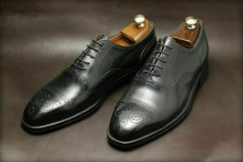 Handmade Men's Black Leather Heart Medallion Dress/Formal Oxford Leather Shoes image 1