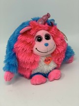 "TY Monstaz Plush Delilah Monster Blue / Pink Stuffed Toy w/Sound 6"" Round - $14.85"