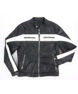 NEW BLANKNYC BLACK WHITE PIE FACE VEGAN LEATHER MOTORCYCLE RACER JACKET ... - $59.38