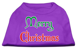 Merry Christmas Screen Print Shirt Purple Med (12) - $11.98