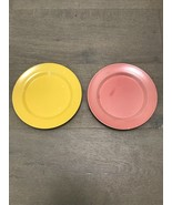 "OLD HOMER LAUGHLIN HARLEQUIN ROSE & YELLOW 7 1/4"" SALAD DESSERT PLATES 7.25 - $14.00"
