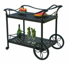 Outdoor Tea Cart Patio Furniture Cast Aluminum Bronze image 6