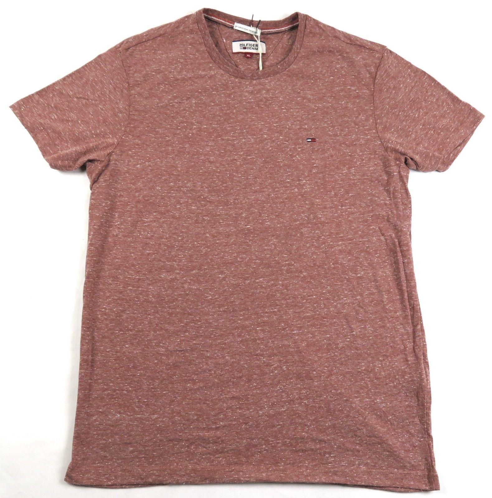 Tommy Hilfiger Denim Men's Shirt Original Basic Knit Crew Neck Tee Deep Red