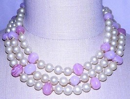 VTG Marbled Pink Glass Ivory Color Pearl Multi-Strand Choker Necklace - $39.60