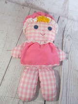 Vintage 1975 Fisher Price Lolly Doll Pink White Gingham 420 - $19.79