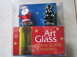 NEW IN BOX ART GLASS SANTA AND TREE WINE BOTTLE STOPPERS - $14.24