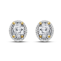 Oval Shape White Sim Diamond 14k Yellow Gold FN 925 Silver Women's Stud Earrings - $45.88
