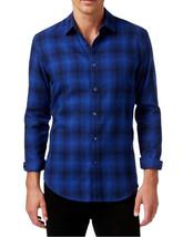 NEW MENS ALFANI SLIM FIT FUZZY PLAID LONG SLEEVE BUTTON FRONT BLUE SHIRT - $18.99