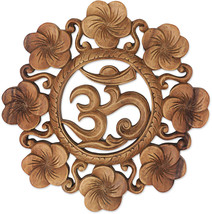 NOVICA Brown Hand Carved Suar Wood Relief Panel, 'Blooming Om' - $93.52