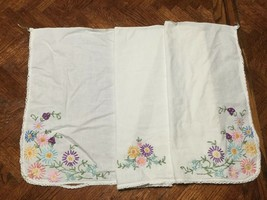 """Vintage Hand Embroidered Table Dresser Runner, Colorful Flowers, 15.5""""X 42"""" - $15.51"""
