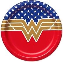 Wonder Woman Round Dessert Cake Plates Birthday Party Supplies 8 Per Pac... - $4.21