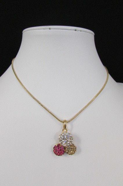 Damen Kurze Modische Halskette Metall 3 Bälle Silber Gold Strass Anhänger Bling image 11
